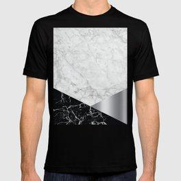 White Marble Black Granite & Silver #230 T-shirt
