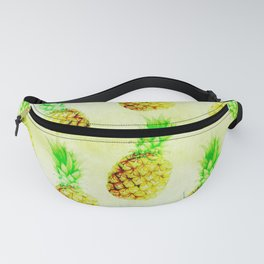 Vintage chic green yellow pinapple pattern Fanny Pack