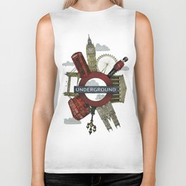 Around London digital illustration Biker Tank