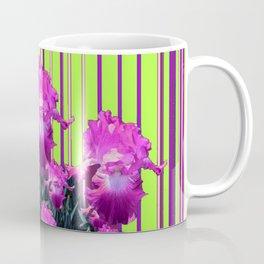 Modern Chartreuse Striped Pink Iris Garden Art Coffee Mug