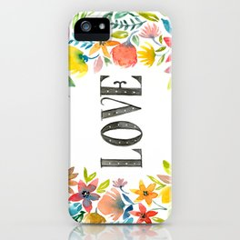 Watercolor flowers, LOVE iPhone Case