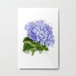 Watercolor hydrangea Metal Print