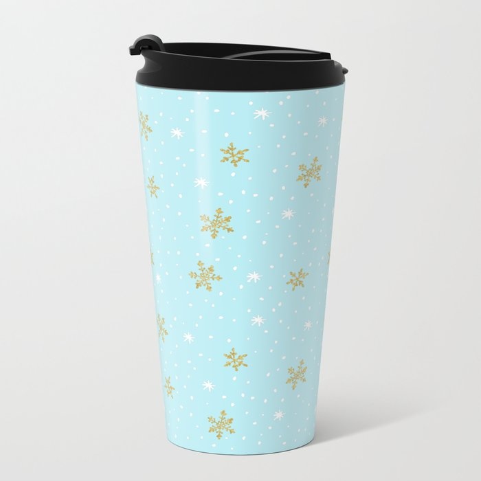 Merry christmas- abstract winter pattern with white & gold Snowflakes Metal Travel Mug