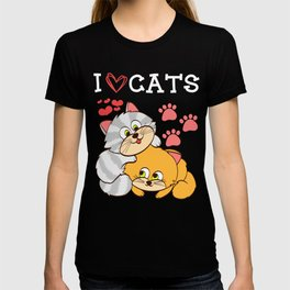 """A Cute Kitty Shirt For Cat Lovers Saying """"I Love Cats"""" Animal Animals T-shirt Design Meow Kitten Paw T-shirt"""