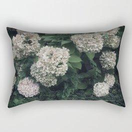 Garden Flowers Hydrangeas White Green Summer Beauty Nature Photography Rectangular Pillow