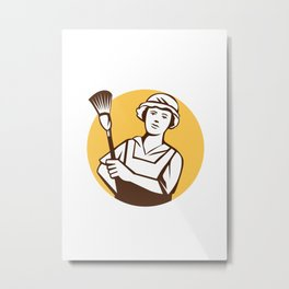 Maid Cleaner Duster Circle Retro Metal Print