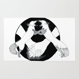 Friendship and enmity - Ink artwork Rug