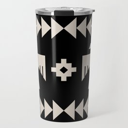 Southwestern Eagle and Arrow Pattern 121 Black and Linen White Travel Mug
