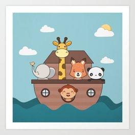 Kawaii Cute Zoo Animals On A Boat Art Print
