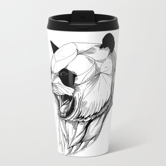 Angry panda (black stroke version for t-shirts) Metal Travel Mug