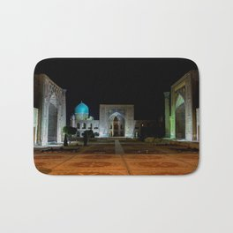 Registan square at night - Samarkand Bath Mat