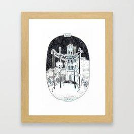 Four of Wands Skeleton Tarot Framed Art Print