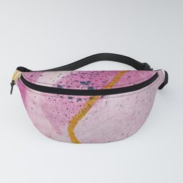 Awakening: a minimal, abstract mixed-media piece in pinks, yellow, and blue by Alyssa Hamilton Art Fanny Pack