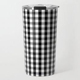 Classic Black & White Gingham Check Pattern Travel Mug