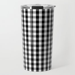 Classic Black & White Gingham Check Pattern Travel Mug