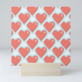 Aqua and Pink Hearts Pattern Mini Art Print