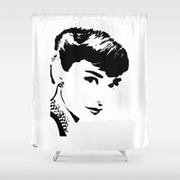 audrey hepburn Shower Curtains featuring Audrey Hepburn by Saundra Myles