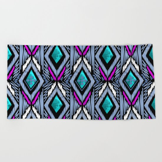 Colorful ethnic ornament . Beach Towel
