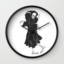 Dancing reaper - silhouette grim - skeleton cartoon - night angel Wall Clock