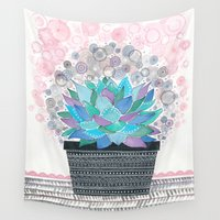 succulent Wall Tapestries featuring succulent by Asja Boros