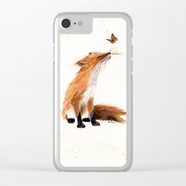 Monarch Fox - animal watercolor painting Clear iPhone Case