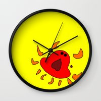 crab Wall Clocks featuring Crab by Happy Fish Gallery