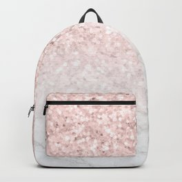 Pink Rose Gold Glitter and Marble Backpack