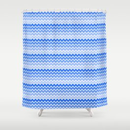 Blue Ombre Chevron Shower Curtain