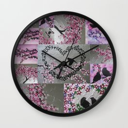 pink and grey japanese sakura inspired design designs with cherry blossom and birds bird flowers Wall Clock
