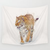 tiger Wall Tapestries featuring Tiger  by Daniel Taylor