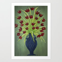 Red Tulips Navy Blue Vase Art Print