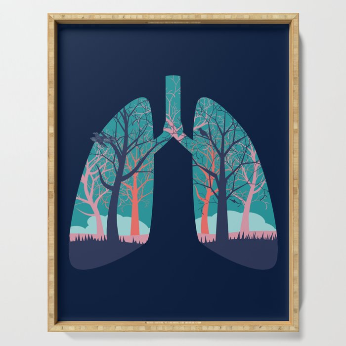 Human lungs with abstract forest inside illustration Serving Tray