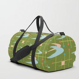 Mid Century Modern Boomerangs on Lime Green Duffle Bag