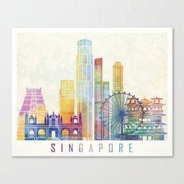Singapore landmarks watercolor poster Canvas Print