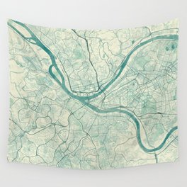 Pittsburgh Map Blue Vintage Wall Tapestry