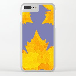 Stained Glass Tiffany style Sycamore leaves on green Clear iPhone Case