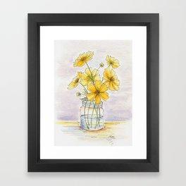 Yellow Cosmos, Still Life Framed Art Print