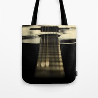 guitar Tote Bags featuring guitar by Ingrid Beddoes