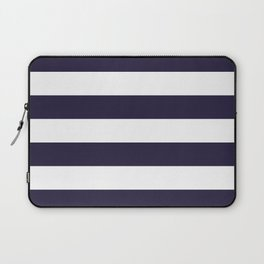Dark eclipse Blue and White Wide Horizontal Cabana Tent Stripe Laptop Sleeve