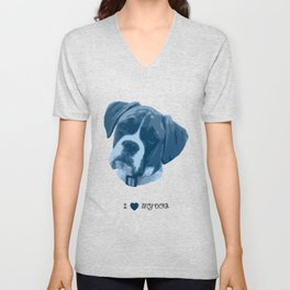 I love my dog - Boxer, blue Unisex V-Neck