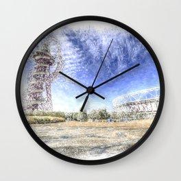 West Ham Olympic Stadium And The Arcelormittal Orbit Snow Wall Clock