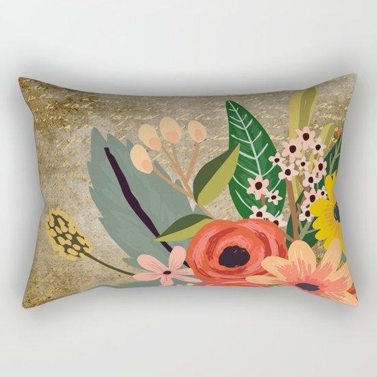 Flower bouquet letter gold #10 Rectangular Pillow