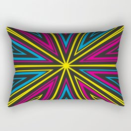Barcode Sunburst Square (CMYK) Rectangular Pillow