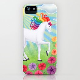 daydreamer (rainbow unicorn), sunshine, petunias iPhone Case