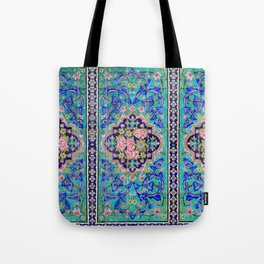 Turquoise Floral tile Tote Bag