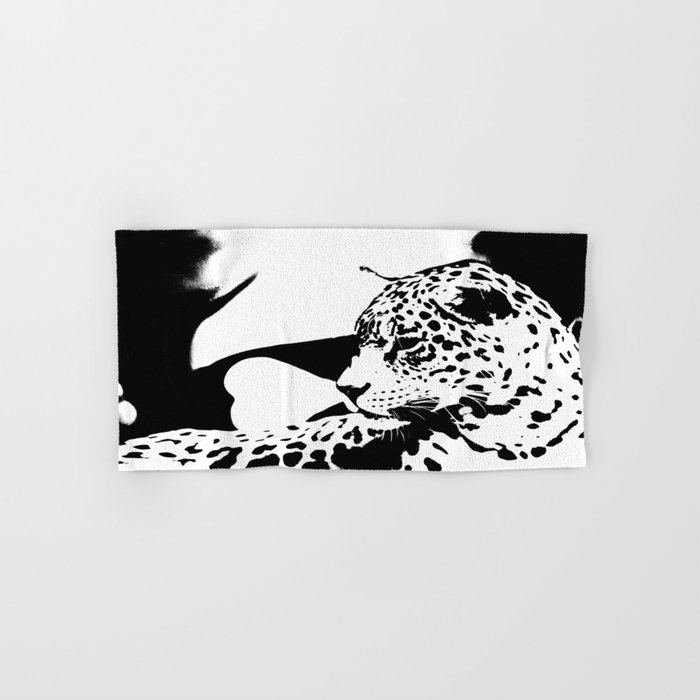 Black And White Wildcat #decor #society6 Hand & Bath Towel