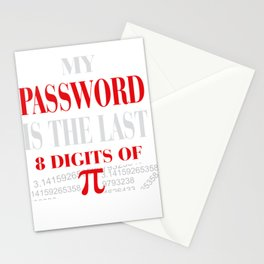 Funny Math and Science Design Password is Pi Stationery Cards