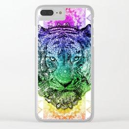 mandala tiger color Clear iPhone Case