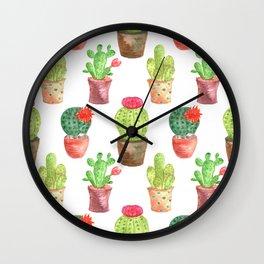 Watercolor prickly cacti in pots Wall Clock