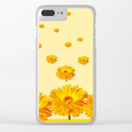 FLOATING GOLDEN FLOWERS YELLOW COLLAGE Clear iPhone Case